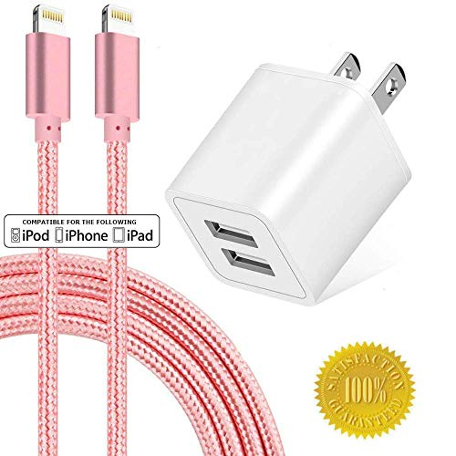 Boost Chargers 2-Port 2.4A USB Power Adapter Wall Charger 5V Cube for Plug Outlet w/ 6FT Nylon Braided Sync & Charger Cord Compatible for iPhone 8 / X / 7 - Chargers Iphone Pink