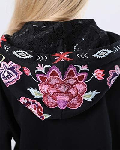 zeyubird Womens Bohemian Floral Zip Up Hooded Sweatshirt Jacket Long Sleeve Tops Embroidered Tops for Women Hoodies