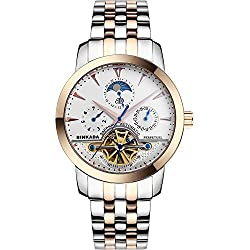 BINKADA Men's Novelty Date Week Moon Pase Automatic Mechanical Watch#705601-3