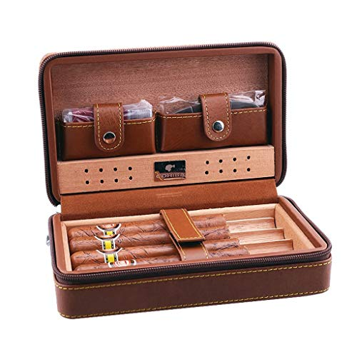 Cigar Humidors Box Cigar Holster Cigarette Case Men's Gift Box, Travel Portable Cigar Humidor Set Cedar Wood Lining Leather Surface Cigar Scissors, Black Brown 4 Sticks Wooden Holder Travel Humidor