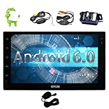 Android 6.0 Marshmallow Car Stereo with touch screen In Dash Double Din Vehicle Radio Receiver 7'' GPS Navigation Multimedia System External Microphone+Wireless Backup Camera