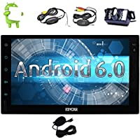 Android 6.0 Marshmallow Car Stereo with touch screen In Dash Double Din Vehicle Radio Receiver 7 GPS Navigation Entertainment System External Microphone+Wireless Backup Camera