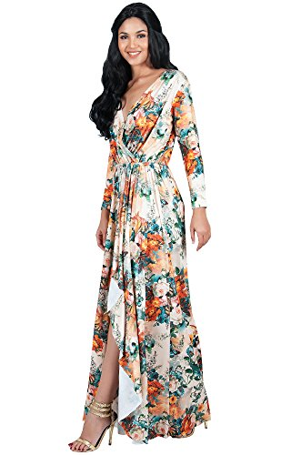 9ce6dd0b3bad ... Floral Print Wrap Slit Split Fall Winter Spring Cocktail Sexy Flowy  Evening Day Abaya Gown Gowns Maxi Dress Dresses, Beige and Orange XL 14-16.  ; 