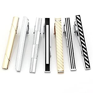 Zysta 7pcs Mixed Mens Stainless Steel Classic Stripe Necktie Tie Clips Bar Set for Regular Ties 2.3 Inch