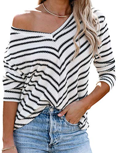 MYMORE Women's Off Shoulder Striped Pullover Sweater Fall V Neck Long Sleeve Waffle Knit Shirt Sweaters Top