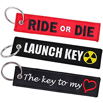 Cars Keychain, Tomcrazy Double Sided Embroidered Fabric Ride Or Die Motorcycles Ring Key Chain, Launch Key Keychains Bags Decorative The Key to My Heart Novel Tag Lock (3 PCS (Mixed 3 Designs)) Ruidou Technology Co Ltd