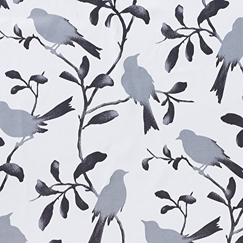 Blackout Bedroom Curtain Thermal Insulated Energy Efficient Home Fashion Drape Privacy Protection Grommet Window Treatment- 52 inch Width by 84 inch Length- Set of 2 Panels- Gray Birds Pattern