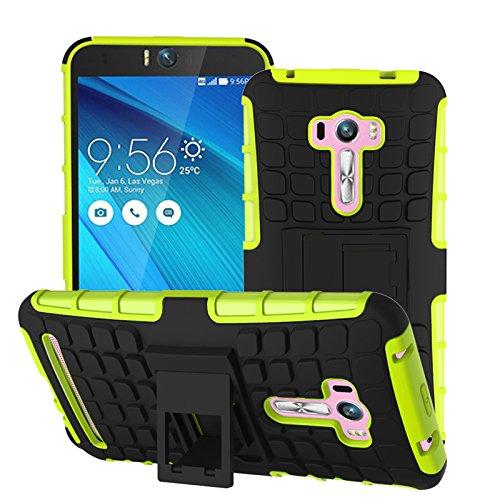 Asus Zenfone Selfie ZD551KL Funda,COOLKE Duro resistente Choque Heavy Duty Case Hybrid Outdoor Cover case Bumper protección Funda Para Asus Zenfone Selfie ZD551KL (5.5 inches) - Blanco verde