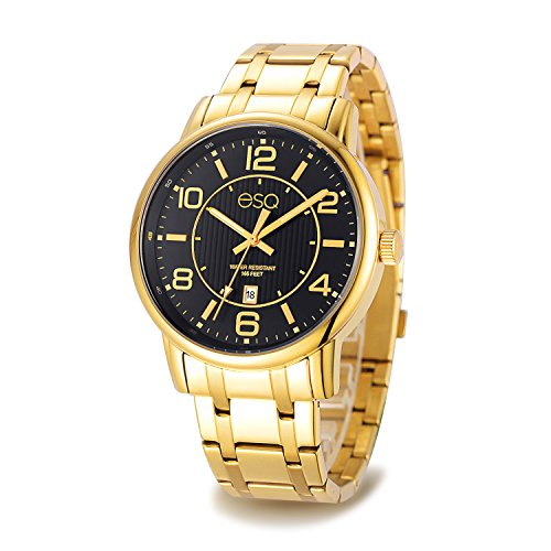 Esq E252 Gold Ip Stainless Steel Bracelet Watch with Black Dial and Date (Esq Gold Watch)