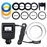 SAMTIAN 48 LED Light Macro Ring Flash with LCD Display Power Control for Sony Minolta Hot Shoe Cameras 8 Adapter Rings and 4 Diffusers Included