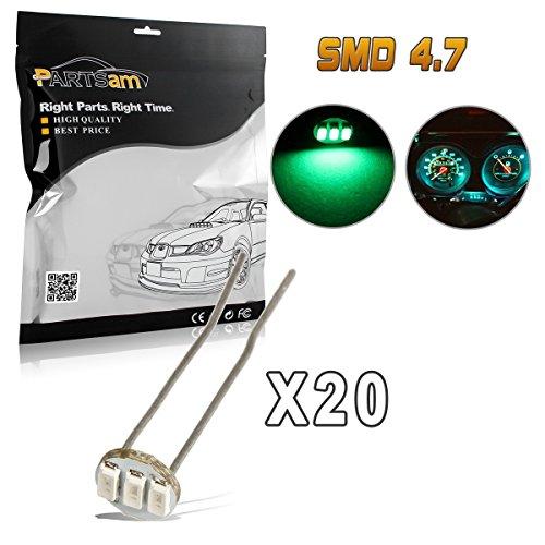 Am Speedometer Pontiac Grand - Partsam 20Pcs 4.7mm-12v Car Green Mini Bulbs Lamps Indicator Cluster Speedometer Backlight Lighting For GM GMC