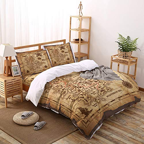 4pcs King Duvet Cover Pirates of The Caribbean Treasure Map Microfiber Hotel Collection Comforter Cover Set with Zipper Closure and 2 Pillow Shams