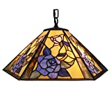 Amora Lighting Tiffany Style AM053HL18 Floral Hanging Lamp Wide 18 In