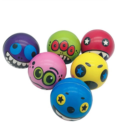 Mydio 24 Pack Funny Face Stress squeeze balls Bulk Stress Relief Fun Toys Halloween Christmas Stocking Stuffer-assorted color 2.5 -