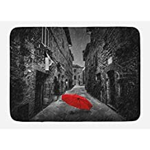 TINA-R Black and White Doormat, Red Umbrella on a Dark Narrow Street in Tuscany Italy Rainy Winter, Plush Bathroom Decor Mat with Non Slip Backing, 24 x 16 Inches, Grey Vermilion