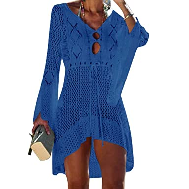 fd9805976cbf UMIPUBO Vestido de Playa Mujer Suelto Pareos Playa V-Cuello Camisolas y  Pareos Ganchillo Vendaje Bikini Traje de Baño Cover up Tunica Talla Grande