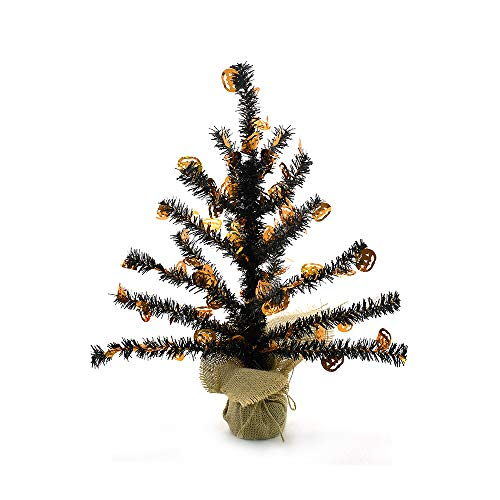 YuQi 14 ''Artificial Table Top Trees Tinsel Mini with Burlap Base, Halloween Home Decor for Table and Desk Tops, Christmas Tinsel Trees, Perfect for Your Home,Wedding,Party Decorations (Pumpink) ()