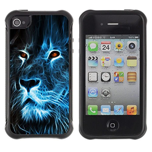 Apple Iphone 4 / 4S - Lion Blue Fire Burning Eyes Art Drawing