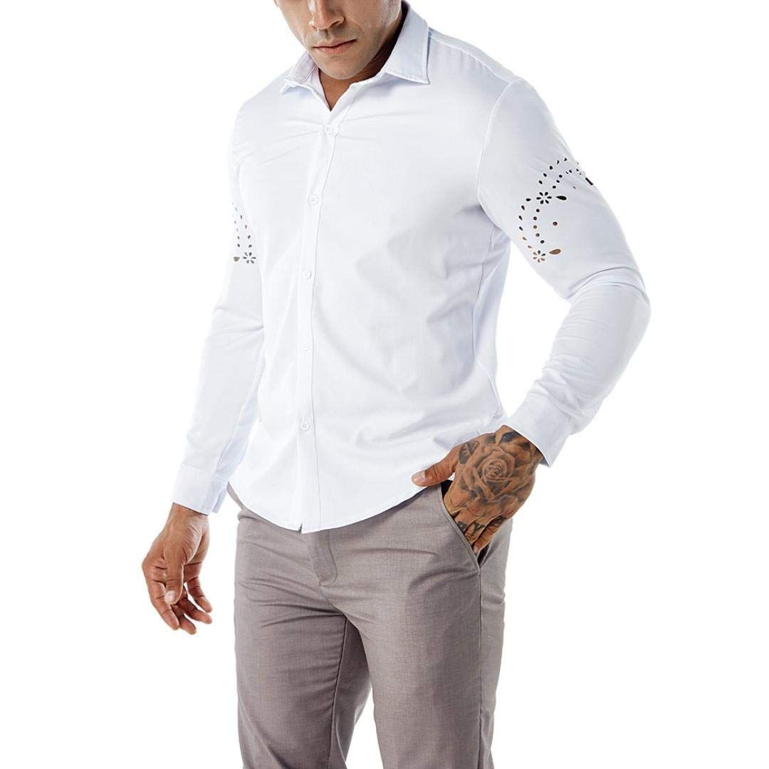 Color : White, Size : XX-Large Mens Casual Shirts Top Casual,Slim Fit Plain White Floral Gothic Long Sleeve Pattern Personalised Design Polo Pullover Blouse XXL