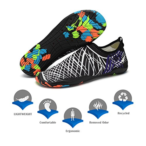 KEALUX Men Women Barefoot Quick-Dry Water Sports Shoes Multifunctional Sneakers With Drainage Holes For Swim,Walking,Yoga,Lake,Beach,Garden,Park,Driving,Boating Black&white