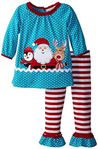 Rare Editions Little Girls' Santa Applique Stripe Set, Turquoise, 6X