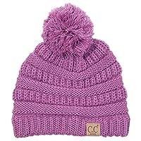 H-6847-61 Girls Winter Hat Warm Knit Slouchy Toddler Kids Pom Beanie - Lavanda