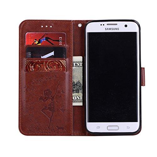 Funda para Samsung Galaxy S7 Edge ,IJIA Chica Danza Cartera Carcasa Piel PU Ranuras para Tarjetas de Crédito Flip Folio Caja [Estilo Libro,Soporte Plegable ] para Samsung Galaxy S7 Edge - Rosa Brown