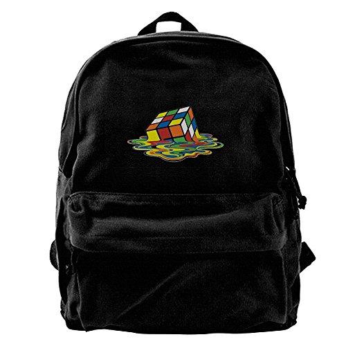 Price comparison product image Melting Rubix Cube Unisex Canvas Shoulder Backpack School Bag Computer Bag