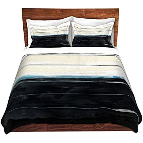Duvet Cover Brushed Twill Twin Queen King SETs DiaNoche Designs Dora Ficher Not Always Black Or White 3