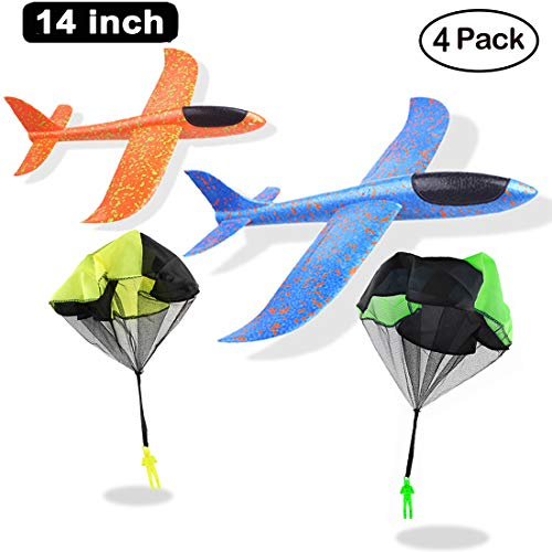 Manual Airplane - HLXY Outdoor Sports Toy Airplane and Parachute Men 4 Packs Free Throwing Toys Manual Throwing Model Foam Stunt Airplane & Parachute Toys For Boys and Girls