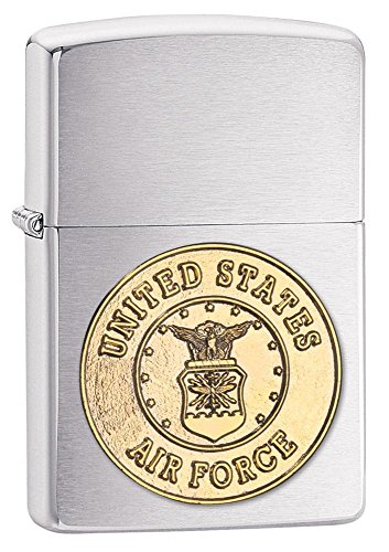 (U.S. Air Force Zippo Outdoor Indoor Windproof Lighter Free Custom Personalized Engraved Message Permanent Lifetime Engraving on Backside (Style9))