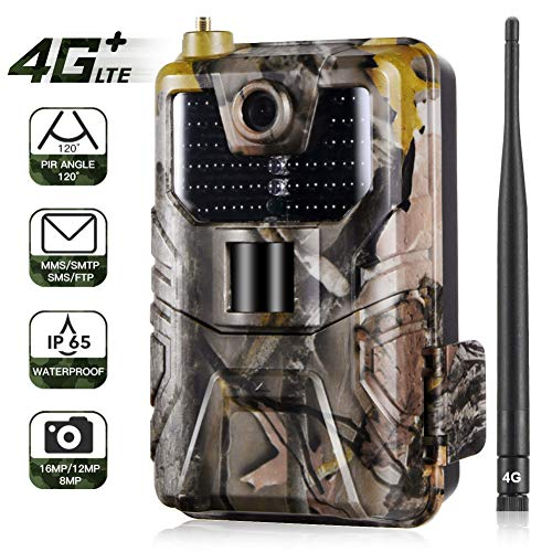 JIMITO 4G Wildlife Camera 16MP 1080P Trail Game Camera Motion Activated Infrared Night Vision 940nm Photo Traps 0.3s MMS…