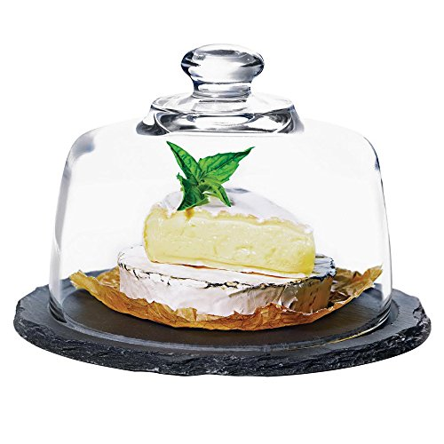Anchor Hocking Presence Round Slate Platter with Glass - Domed Cheese