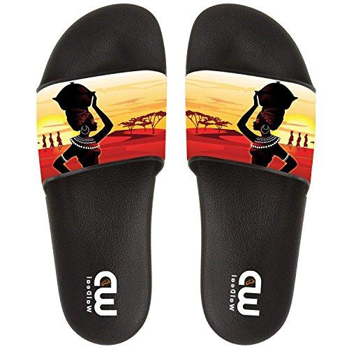 Sunset African Ethnic Women Art Summer Slide Slippers For Men Women Outdoor Indoor Soft Sandal Shoes