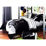 Rock N Roll Guitar Twin Comforter Set (6 Piece Bed in a Bag) Black & White Bedding
