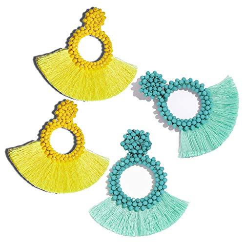 FAUOI Tassel Hoop Earrings Set for Women Beaded Statement Earrings Bohemian Jewelry Gift for Women Girls (Yellow/Blue)