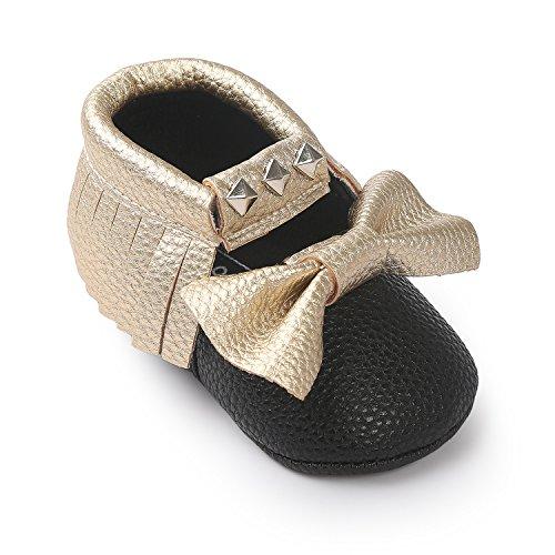 JL bebé niñas suela suave borla Bowknots sintética zapatos de piel Mocasín @4 Talla:Suitable Age12~18 month gris
