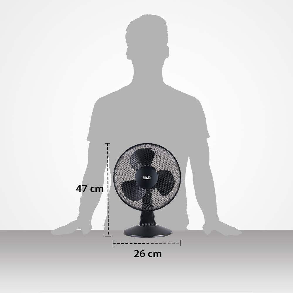 Ventilador de refrigeraci/ón Negro Ideal para el hogar y la Oficina *** Precio Promocional*** 2 a/ños de garant/ía ANSIO Ventilador oscilante port/átil de sobremesa de 12 Pulgadas con 2 velocidades