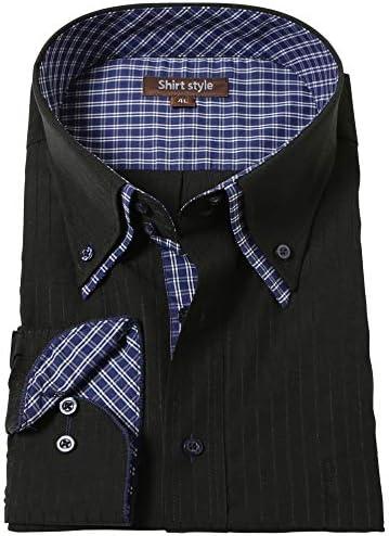 シャツスタイル(shirt style)ワイシャツ メンズ 黒 ボタンダウン BIG 3L-8L /BRT-507