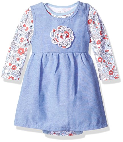 Rene Rofe Baby Baby Girls' 2 Piece Chambray Dress Set with Lap Shoulder Longsleeve Bodysuit, Coral Flowers 18 Months ()