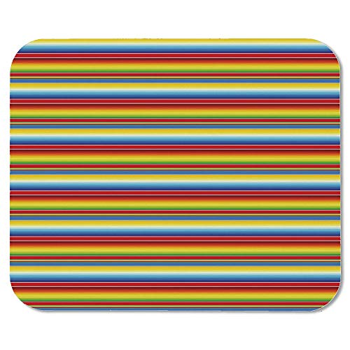 Abstract Personalized Mouse Pad,Rainbow Colored Lines Geometrical Mexican Blanket Pattern Latin American Culture Decorative for Work Game,7.87''Wx9.45''Lx0.08''H ()