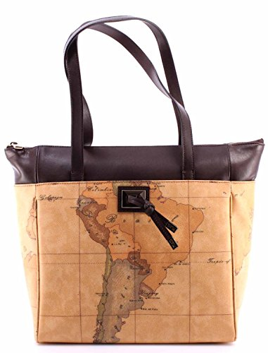 Borsa Mano Donna ALVIERO MARTINI 1° Classe Shopping Bag Dark Brown Geo Beige