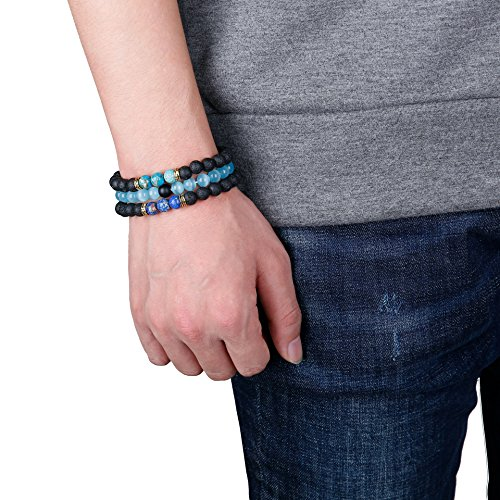 FUNRUN JEWELRY 6PCS Bead Bracelets for Men Women Natural Stone Mala Bracelet (E: 6 PCS Style 4) by FUNRUN JEWELRY (Image #4)