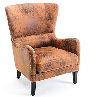 Belleze Wingback Chair Leather Nail Head Trim High Back Mid Century Style Padded Vintage Accent Armrest, Rust Brown - Perfect for Your Home - This high-back club chair is a perfect addition for any room in your home Simple Assembly - Simple and minimal assembly is required Lounge Around - A great fit for a fireside evening or a chair to lounge around in - living-room-furniture, living-room, accent-chairs - 51yLVT6x1OL. SS400  -