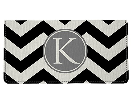 Personalized Monogram Black Grey Chevron Checkbook Cover