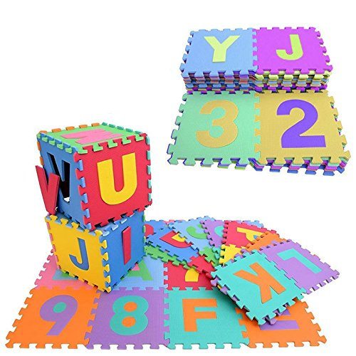 "36pc A-Z Alphabets, 0-9 Numbers Puzzle Play & Flooring Mat Interlocking Soft EVA Foamfor Children &Kids, 6""x 6"" (Educational, Safe, and Durable EVA Foam Puzzle Mat)"