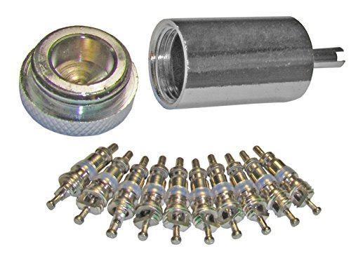 Access Valve Core Remover Installer + 10 Replacement Cores for AC & Refrigeration