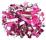kuugear Pair 2-Color 6' Metallic Cheerleading Pom Pom with Baton Handle - Hot Pink/Silver