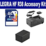 Canon LEGRIA HF R38 Camcorder Accessory Kit includes: SDM-1556 Charger, SDM-1556 Charger, SDM-1556 Charger, KSD4GB Memory Card, ACD786 Battery, ACD786 Battery, ACD786 Battery
