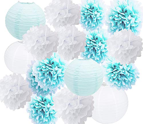 Furuix Baby Shower Decorations for Boy 16 pcs White Baby Blue Tissue Pom Pom Flower and Paper Lanterns First Birthday Party Decorations Frozen Baby Shower Party Decoration Set for Boy